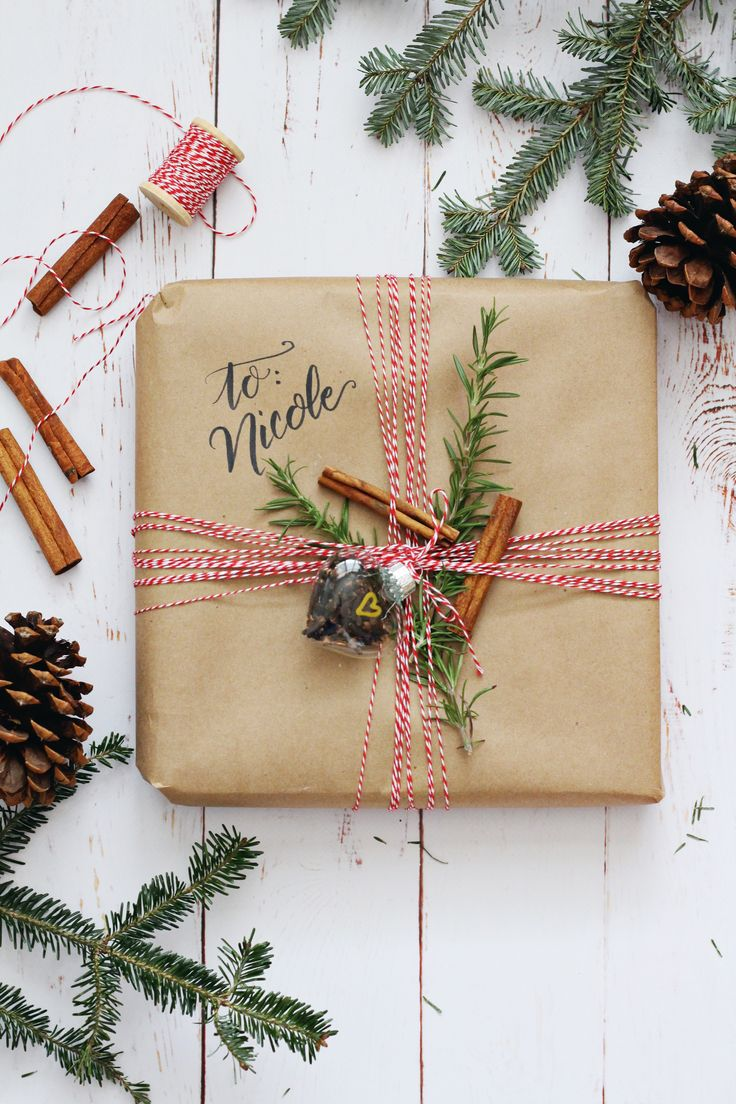 Kitchen theme wrapping idea: use kraft paper, baker's twine, herbs, and spices!