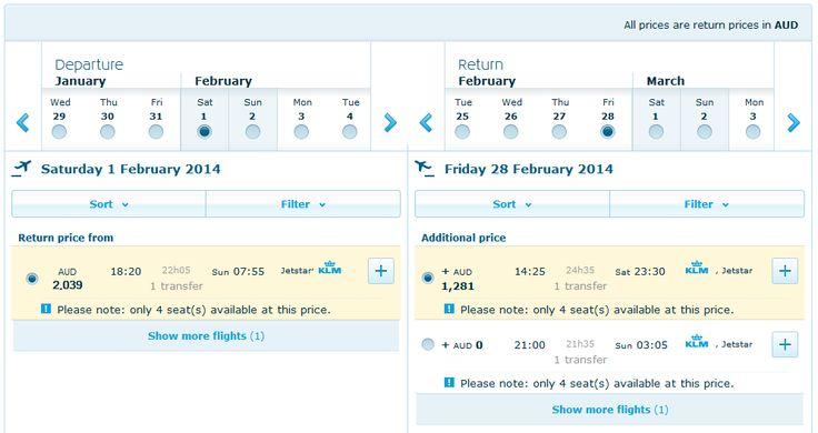 KLM Royal Dutch Airlines Pricing Calendar