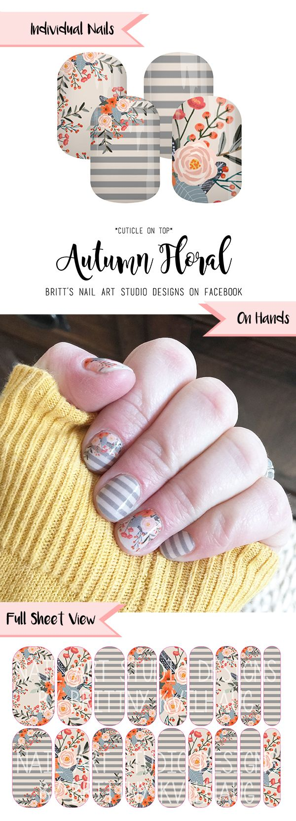 Autumn Floral Nail Wraps by Jamberry. These are so perfect for sitting back, relaxing, and guzzling a pumpkin spice latte. Amiright?