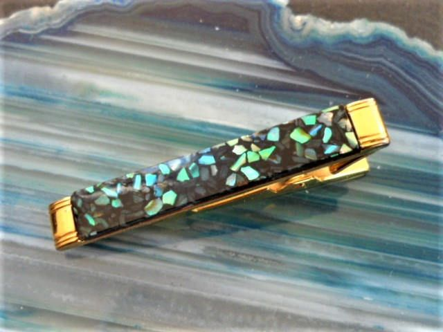 Stratton Tie Clip Gilt Metal Mother of Pearl Effect Band Men's Accessories Gift Ideas
