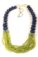 Necklace with Melon Lapis and Multi Strand Peridot - Bounkit