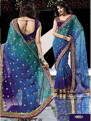 Blue Peacock Saree