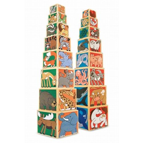 Explore the animal kingdom with these exciting wooden nesting blocks. From a tiny seahorse to a great big elephant, discover charming animals from four animal habitats. When stacked, they are almost 90cm tall.