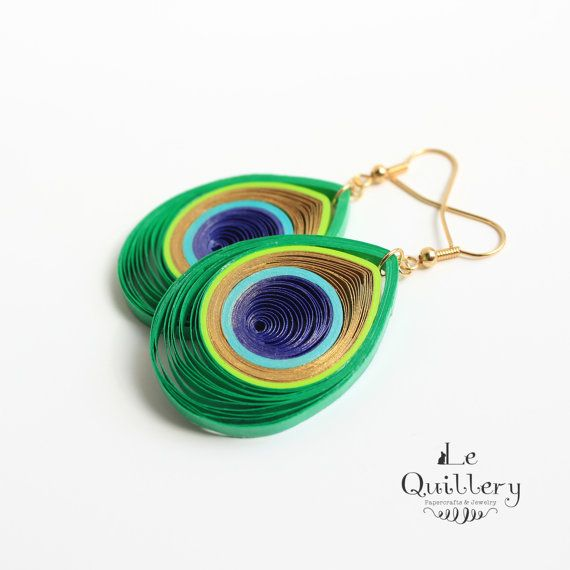 OOAK Peacock Feather Earrings - Handmade Paper Quilling Jewelry - Eco Friendly Jewelry