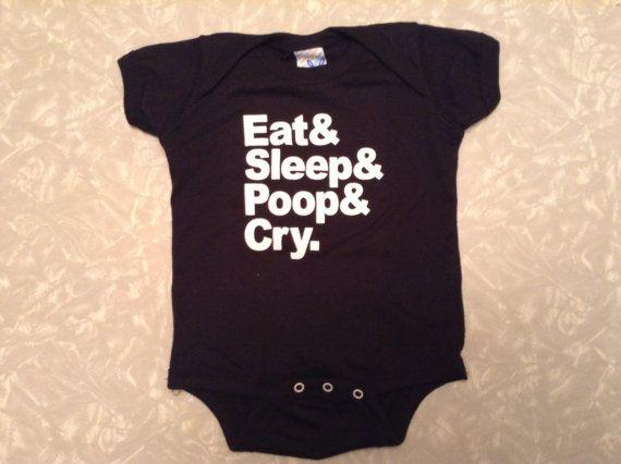 Eat Sleep Poop Cry Baby Onesie by PinkHammersBaby on Etsy, $20.00