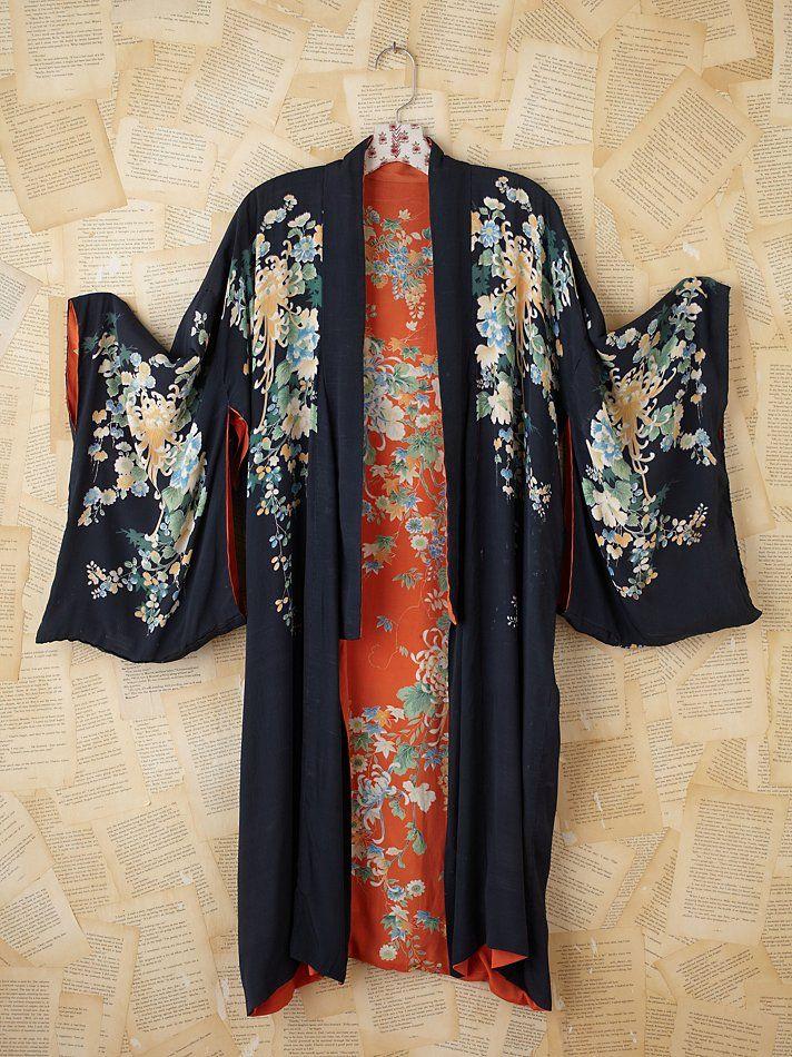 Black vintage kimono