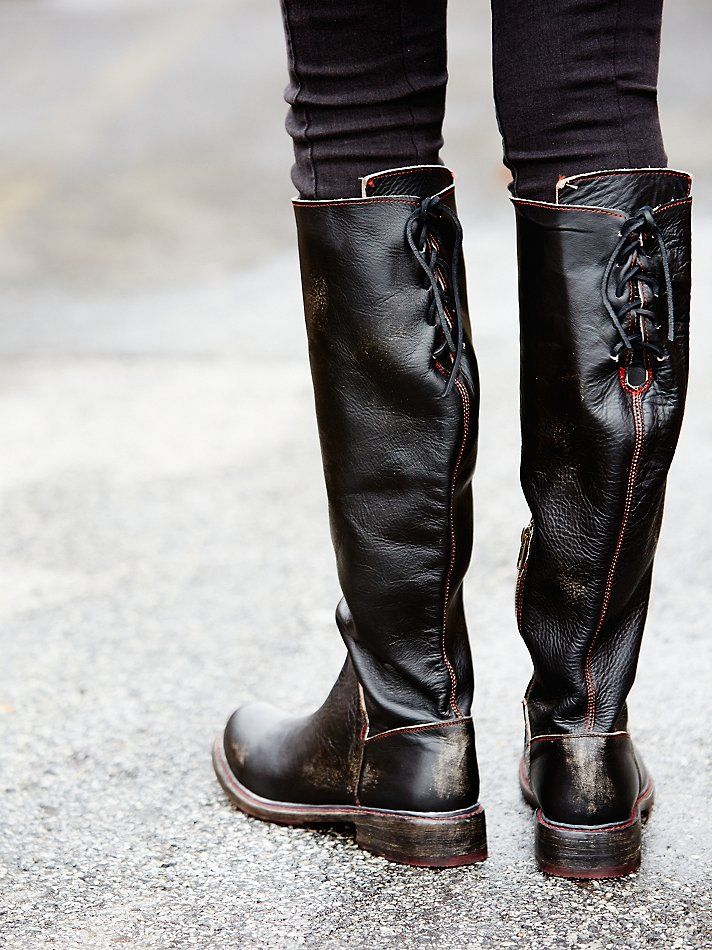 Manchester Tall Boot | Distressed leather tall boot with darker edges. Lace-up detailing at upper calf. Short zipper on the inner sides. Stacked wood heel. Leather sole.   *By Bed Stu