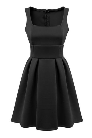 Plain Square Neck Tank Dress with Full Skirt and Zip Back #dress #style #black