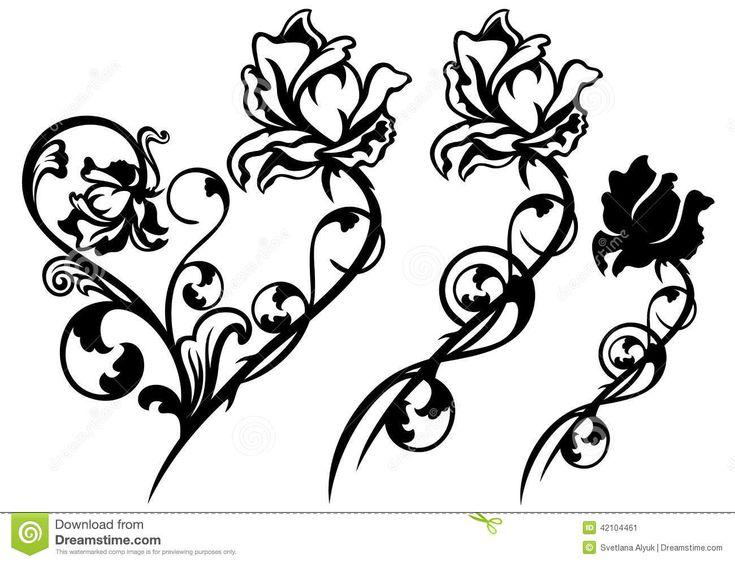 flower stem clipart black and white - Google Search