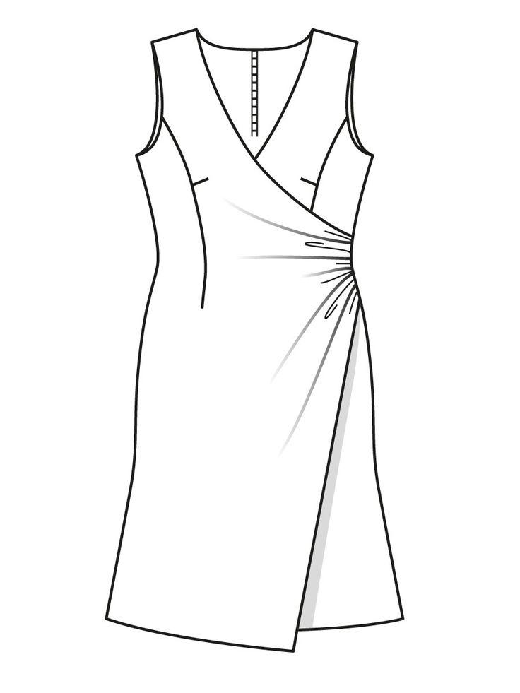 Платье с эффектом запаха - выкройка № 106 из журнала 9/2015 Burda – выкройки платьев на Burdastyle.ru