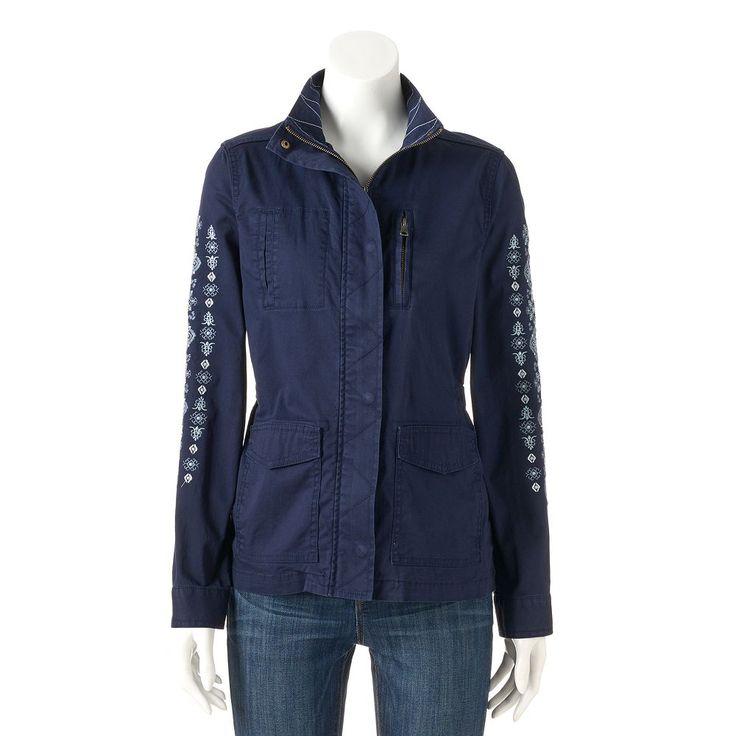 Women's SONOMA Goods for Life™ Embroidered Utility Jacket, Size: Medium, Dark Blue
