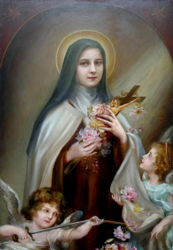 St. Therese on wood and painted by Celine- St.Therese's sister TABLEAU Thérèse aux anges