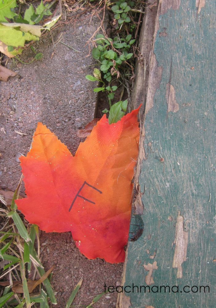 Leafy outdoor alphabet hunt with make-your-own ABC leaves | seriously, one of my all-time fave fall games for kids!
