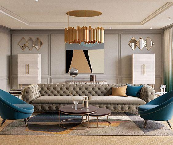 Exemples de revêtements muraux dans la décoration de salons ...