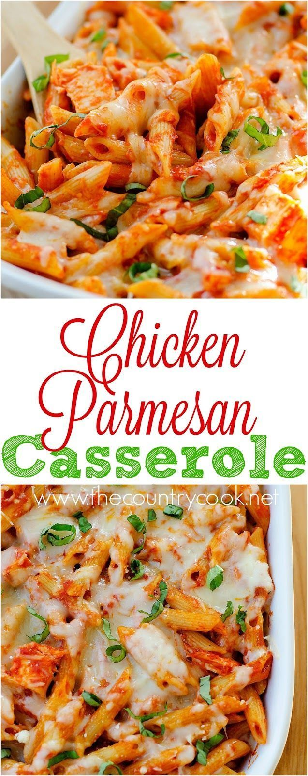 Chicken Parmesan Casserole recipe from Life in the Lofthouse at The Country Cook. Layers of cheesy pasta and chicken and marinara. I would use a store-bought rotisserie chicken to make this come together quickly!