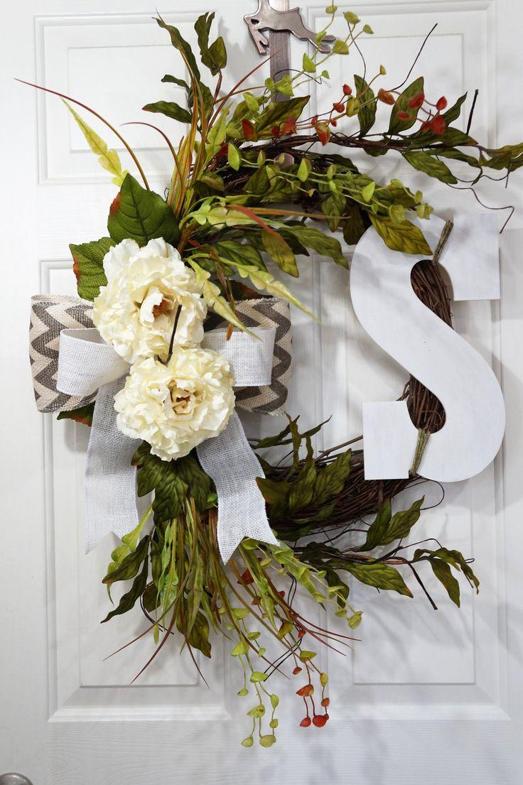 White Peony Wreath-Chevron Wreath-Monogram Wreath-Housewarming Wreath-Easter Gift-Spring Wreath-Front Door Wreath-Wedding Gift by WreathdesignsbyJulma on Etsy