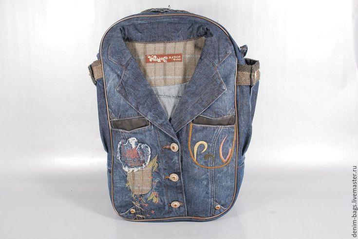 Купить HandMade Рюкзак из джинсовой куртки - голубой, джинсовый рюкзак, джинсовая фантазия