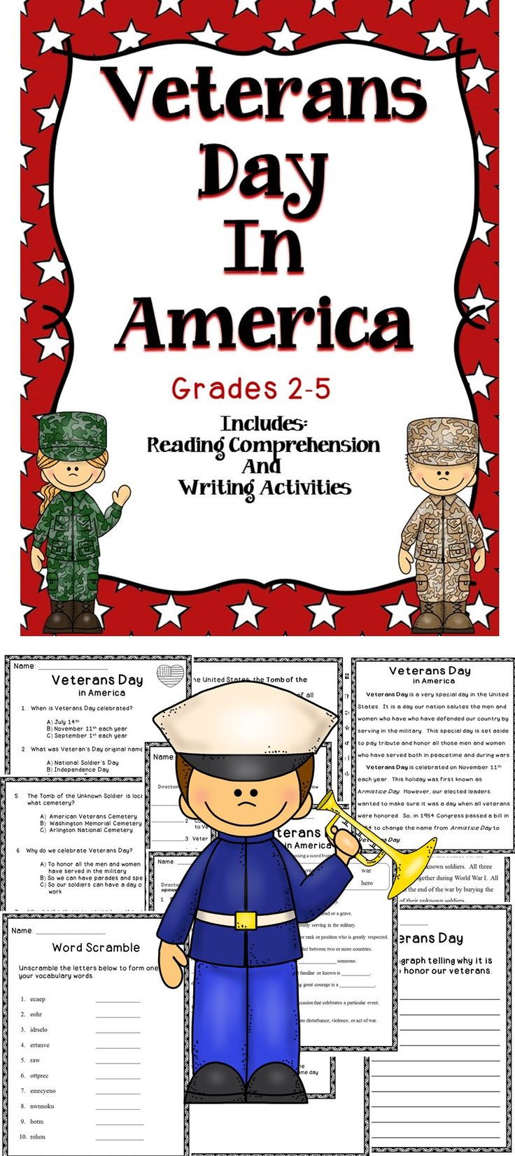 Veterans Day - This is a Veterans Day Activity Book. This book includes fun reading comprehension activities for the classroom. #tpt #veterans Day