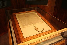 1297 copy of Magna Carta, owned by the Australian Government and on display in the Members' Hall of Parliament House, Canberra.