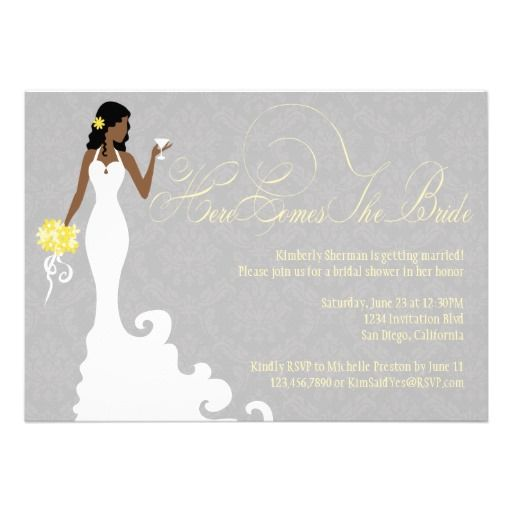 20 best african american bridal shower invitations images on chic grey yellow here comes the bride shower invitation filmwisefo