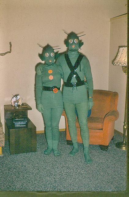 vintage Halloween photo costume costumes space aliens alien couple retro weird bizarre creepy