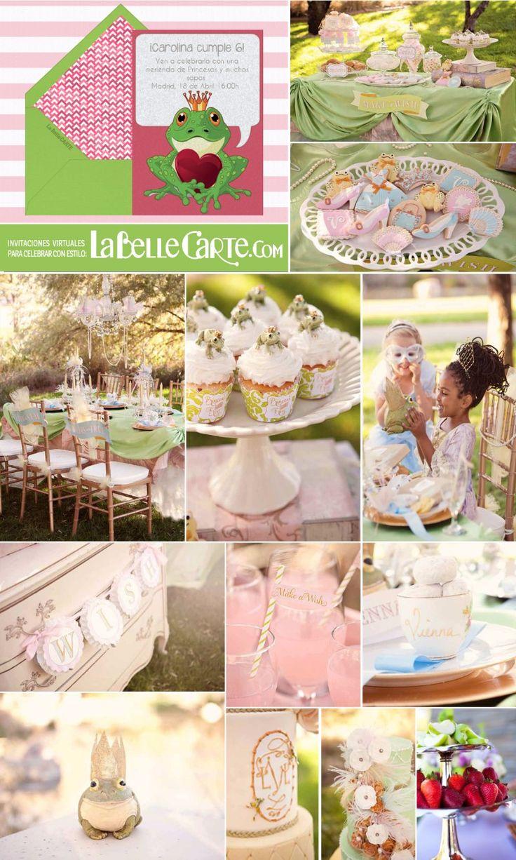 Invitaciones Infantiles, Invitaciones para fiestas Infantiles, Cumpleanos La Princesa y el sapo, Fiesta La Princesa y el sapo