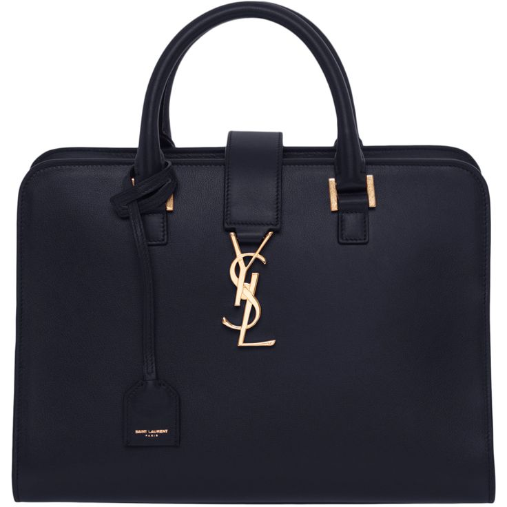 Saint Laurent Small Cabas Monogram Leather Satchel | Leather ...