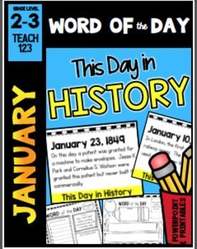 January Word of the Day  : January themed Word of the Day tells something that happened on that day in history on a powerpoint slide. Or print the slide and set this up as a center. Word or words from the day in the history event are used for word work extension activities. There are half page assignments (telling/asking sentences, synonyms, definitions, part of speech) and foldables for INB (syllables, synonyms, antonyms, sentences),blank letter format, and story papers.   paid