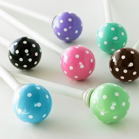 Dottie Finials   PBteen these are really cute, but you could also paint your own...: Dottie Finials, Finials Pbteen, Curtain Rods, Adorable Curtain, Finials Potterybarnteen, Abbie Bedroom, Pink Room, Kids Room Nursery, Bedroom Ideas