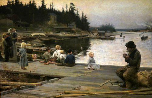 Albert Edelfelt (1854-1905) - Summer evening at Hammar's repair yard 1885 - Lauantai-ilta Hamarissa - National Museum of Art, Copenhagen, Denmark