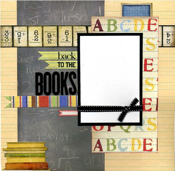 12x12 Premade School Scrapbook Page Back by SusansScrapbookShack