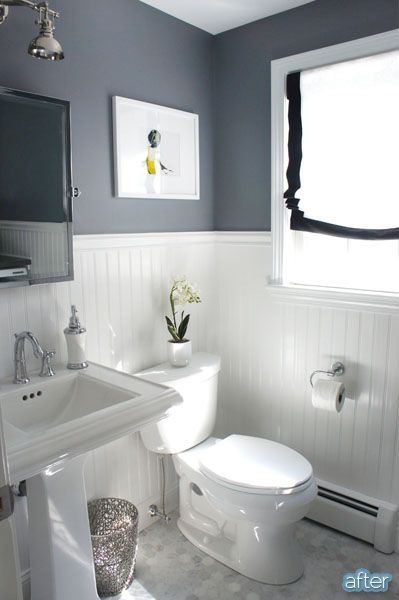 Better After | Bathroom Makeover. Love the wall color & board and batten together.