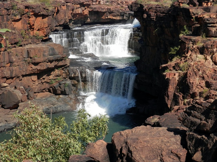 Mitchell Falls, the Kimberley West Australia.  Visited whilst on Orion Cruise, Darwin to Broome: zodiacs to beach, helicopter to Falls, swim above the falls.