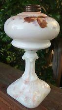 Antique Custard Glass Eapg Kerosene Oil Lamp Victorian 19th Century