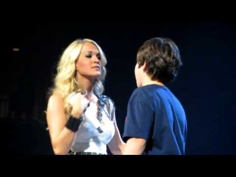 """Carrie Underwood Grants 12 year old Fan His First """"Lip to Lip"""" Kiss  Making His Dream Come True"""