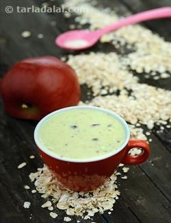 This wholesome porridge made of oats, apples and milk can be served as a dessert or breakfast after your baby is 6 months. Milk is a good source of calcium, which is extremely important for the development of your baby's bones and teeth. Oats are high in energy, protein and fibre.