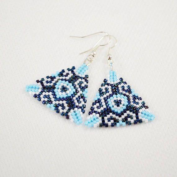 Blue triangles earrings Woven earrings Sedd beads earrings