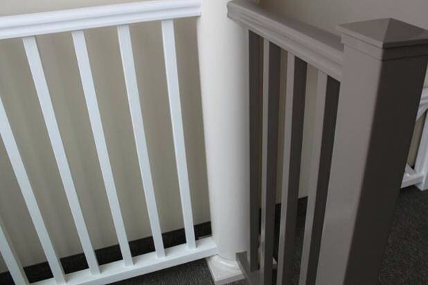 Replace old railings with Vision Outdoor maintenance-free and rock solid ones. #railing #homeexterior #homedesign Www.visionoutdoorproducts.com