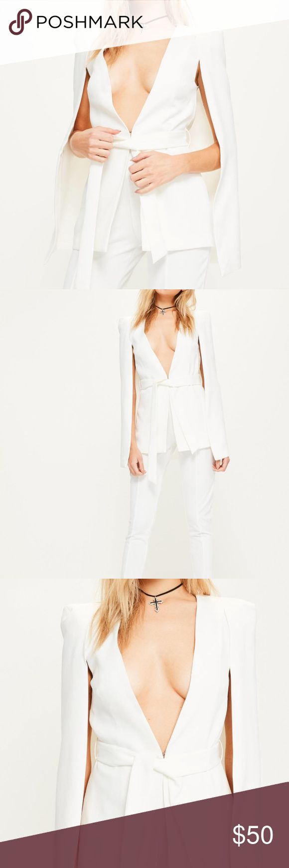 Missguided White Crepe Tie Waist Cape Blazer Brand new with tags and sealed in plastic packaging - never opened Missguided Tops