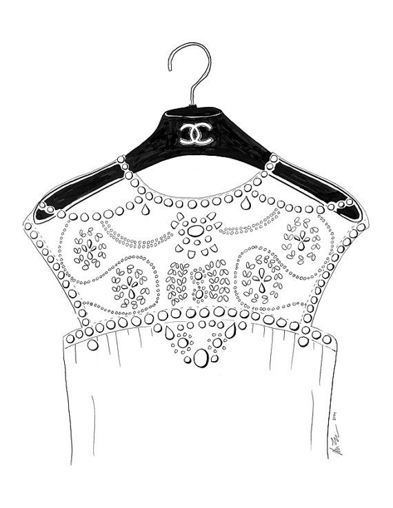 Chanel on a Hanger Fashion Line Drawing Print by KaraEndres, $25.00