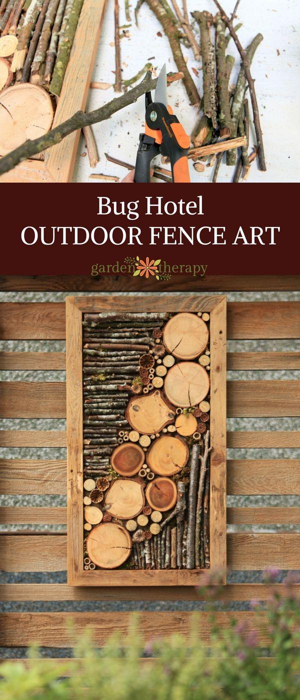 Bug hotel outdoor fence art