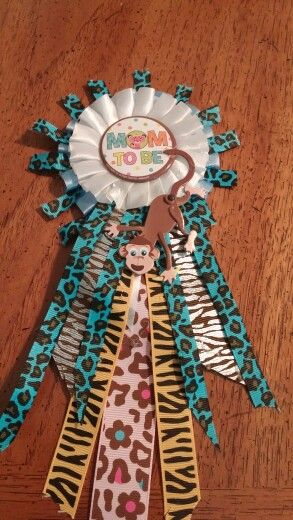 Noahs ark baby shower ribbon corsage