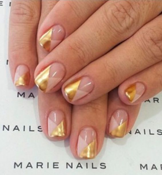 Gold + nude nails