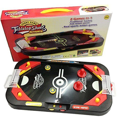 D-Mcark Kids Mini Air Hockey Soccer Table Games 2 in 1 for Family It is a great toy for children to practice hand and eye coordination, concentration, aiming, problem solving,and at the same time having a lot of fun. Suitable for 3 year (Barcode EAN = 0713049577548) http://www.comparestoreprices.co.uk/december-2016-3/d-mcark-kids-mini-air-hockey-soccer-table-games-2-in-1-for-family.asp