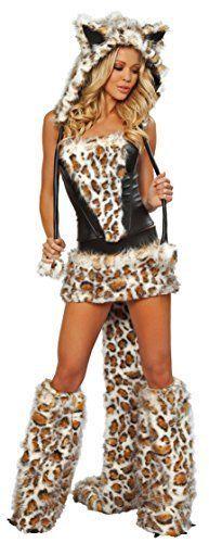 Damen Kostüm Sexy Pelz Leopard Katze Sexy Tier Festival Verrückt 36 - 44 - Mehrfarbig, 36-38