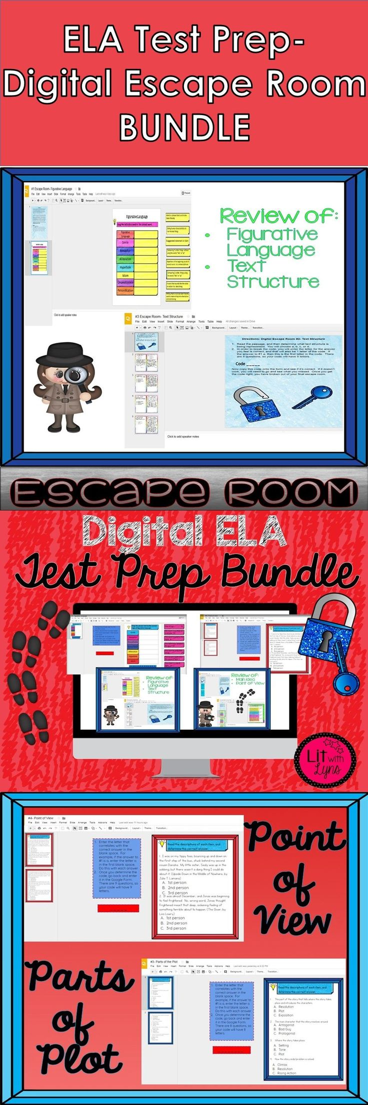 304 best lit w lyns images on pinterest middle school ela autism digital escape room test prep bundle this is a great way to review many of fandeluxe Choice Image