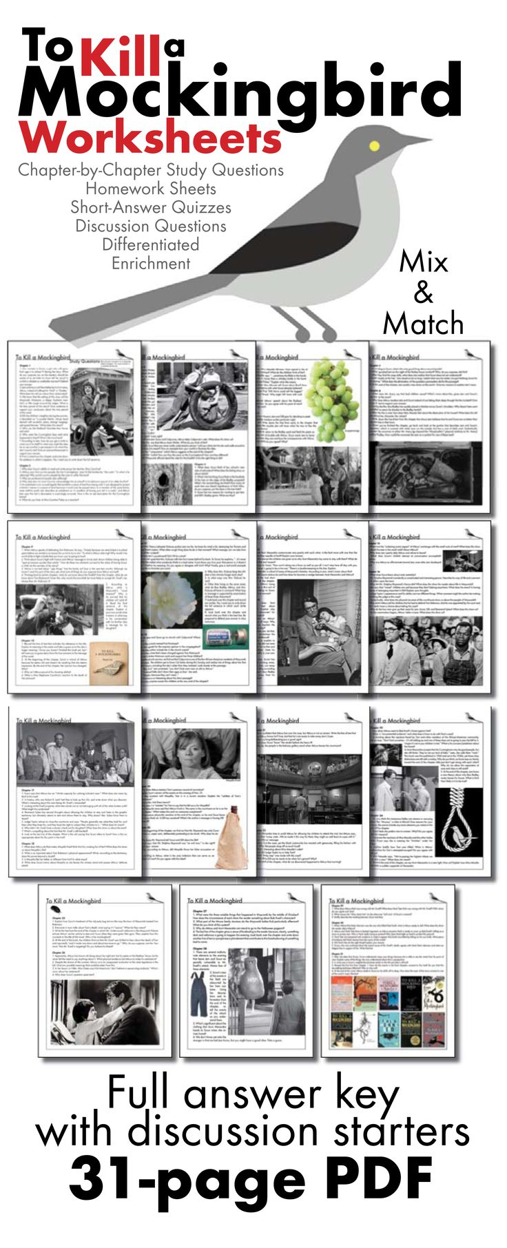 Use this visually stunning package of chapter-by-chapter questions covering Harper Lee's classic American novel, To Kill a Mockingbird, to pull your students into the text and inspire them to think deeply about Lee's themes.