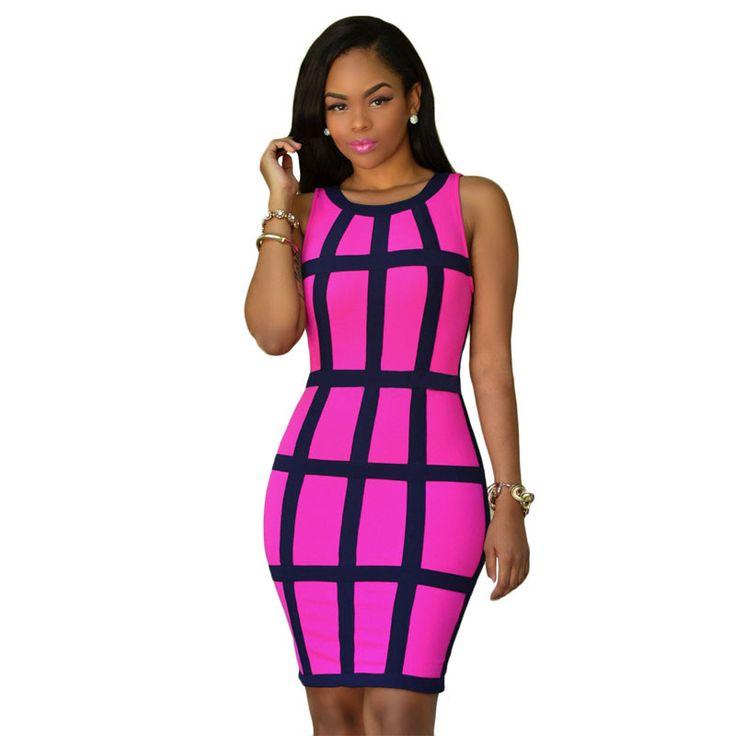 Women Summer Bodycon Dress Sleeveless Patchwork Plus Size Pink Yellow Mini Robe Sexy Club Dress Vestidos Party Dresses