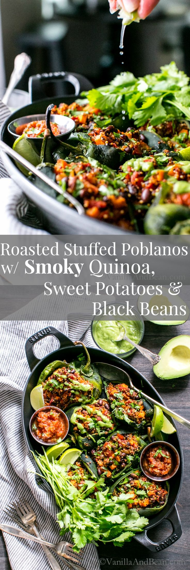 Fabulous for weekend or weeknight. Mealprep included! Roasted Stuffed Poblanos with Smoky Quinoa, Sweet Potatoes and Black Beans | Vegan + Gluten Free
