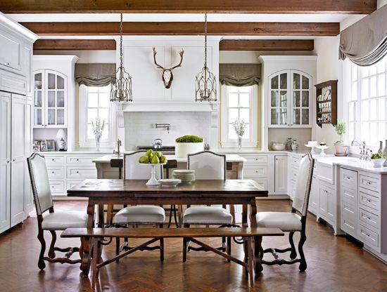Large Tables Paired With Benches Upholstered Chairs And